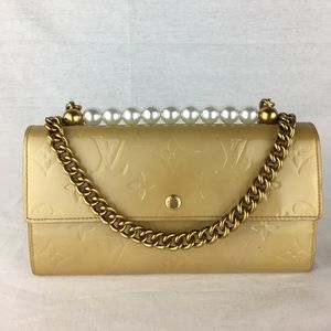 LOUIS VUITTON Golden Vernis Wallet w/ Pearl Crown